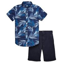 Boys, V by Very Palm Print Shirts and Chino Shorts, Navy, Size 11 Years