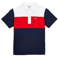 Lacoste Boys 85th Anniversary Short Sleeve Polo, Blue/Red/White, Size 14 Years