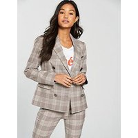 V by Very Check Double Breasted Fashion Jacket, Check, Size 18, Women