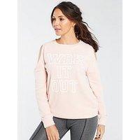 Michelle Keegan Cold Shoulder Longline Slogan Sweat, Blush, Size 14, Women
