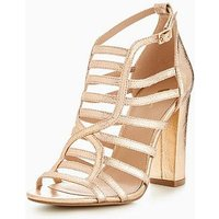 V by Very Sara Caged Block Heel Sandal - Rose Gold, Rose Gold, Size 4, Women