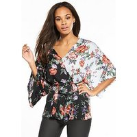 V by Very Mixed Print Kimono Top, Black Floral, Size 10, Women