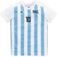 Boys, adidas Touth Argentina 10 Tee - Blue/White , White, Size 11-12 Years
