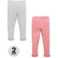 Mini V by Very Girls 2 Pack Ruffle Hem Leggings, Pink/Grey, Size Age: 12-18 Months, Women