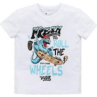Mini V by Very Boys Dinosaur Skate Tee, White, Size Age: 6-9 Months