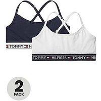 Tommy Hilfiger Girls 2 Pack Bralette, Black/White, Size Age: 4-5 Years, Women