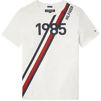 Tommy Hilfiger Boys Stripe Short Sleeve T-Shirt, White, Size 7 Years