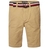 Tommy Hilfiger Boys Classic Belted Chino Short, Stone, Size 10 Years