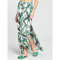 V by Very Co-ord Button Through Maxi Beach Skirt, Print, Size 16, Women