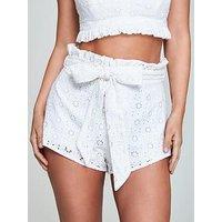 Myleene Klass Broderie Anglais Shorts - White, White, Size 18, Women
