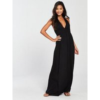 V by Very Jersey Halter Beach Maxi Dress, Black, Size 18, Women