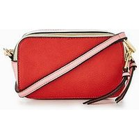 V by Very Colour Block Double Zip Crossbody Bag - Red/Pink, Red/Pink, Women