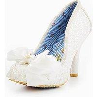 Irregular Choice Ascot Glitter Wedding Court Shoe, White, Size 6, Women