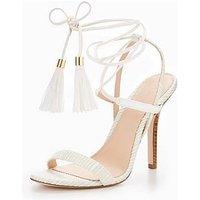 V by Very Rita Tassel Strappy Heel Sandal - White, Off White, Size 8, Women