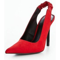 V by Very Balli Sharp Point Sling-Back Court Shoe - Red , Red, Size 4, Women