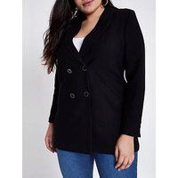 RI Plus Double Breasted Textured Blazer- Black, Black, Size 28, Women