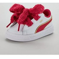 Puma Puma Minions Basket Heart Fluffy Infant Trainer, White/Purple, Size 9