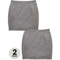 V by Very Girls 2 Pack Tube School Skirt - Grey, Grey, Size Age: 15-16 Years, Women