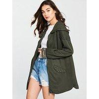 V by Very Embellished Cuff Utility Jacket - Khaki, Khaki, Size 8, Women