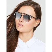 Prada Tort Brow Bar Stone Detail Sunglasses, Tortoise, Women