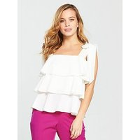 V by Very Petite PETITE Tiered Ruffle Blouse - Ivory , Ivory, Size 16, Women