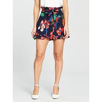V by Very Petite Printed Tie Waist Co-ord Short, Print, Size 16, Women