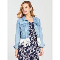 V by Very Petite Lace Hem Denim Jacket, Mid Wash, Size 12, Women