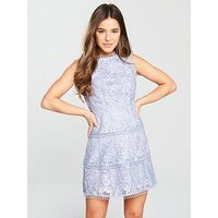V by Very Petite Tiered Embroidered Lace Dress - Blue, Blue, Size 10, Women