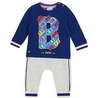 Baker by Ted Baker Baby Boys' Multi-Coloured Sweatshirt and Jogging Bottoms Outfit, White, Size 6-9 Months