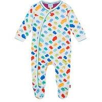 Baker by Ted Baker Baby Boys' Multi-Coloured Vehicle Print Sleepsuit, Multi, Size Newborn