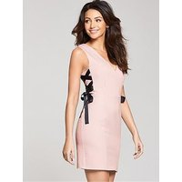 Michelle Keegan Ribbon Side Bodycon, Blush, Size 14, Women