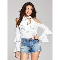 Michelle Keegan Cold Shoulder Tiered Blouse, Ivory, Size 16, Women