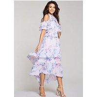 Michelle Keegan Layered Ruffle Maxi Dress, Print, Size 8, Women