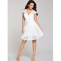 Michelle Keegan Tiered Geo Lace Dress, Ivory, Size 12, Women