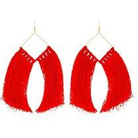 V by Very Oversized Tassel Earrings - Red , Red, Women