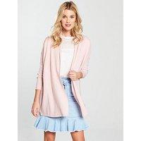 V by Very Shawl Collar Rib Cardigan - Blush Pink, Blush Pink, Size 12, Women