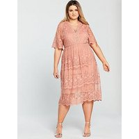 V by Very Curve Mesh Embroidered Midi Dress, Smokey Rose, Size 26, Women