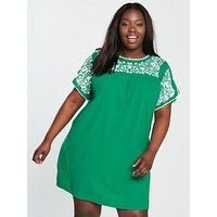 V by Very Curve Embroidered Crinkle Tunic Dress - Jade, Jade, Size 20, Women