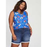 V by Very Curve Cross Neck Cami Top - Blue, Print, Size 16, Women