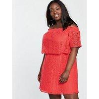 V by Very Curve Lace Bardot Dress - Orange, Orange, Size 26, Women