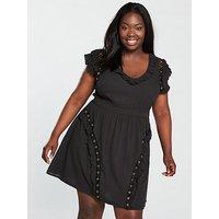 V by Very Curve Eyelet Detail Crinkle Dress, Black, Size 24, Women