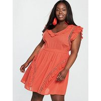 V by Very Curve Eyelet Detail Crinkle Dress - Orange, Orange, Size 20, Women