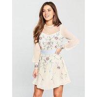 V by Very Petite Embellished Skater Dress - Ivory , Ivory, Size 8, Women