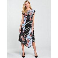 V by Very Mixed Print Midi Dress, Print, Size 10, Women