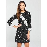 V by Very Mixed Print Frill Tea Dress, Print, Size 18, Women
