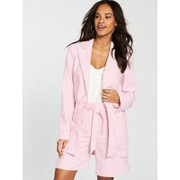 V by Very Relaxed Linen Mix Jacket - Blush, Blush, Size 18, Women