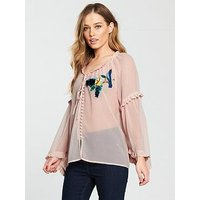 V by Very Bird Embellished Chiffon Blouse - Blush, Blush, Size 10, Women
