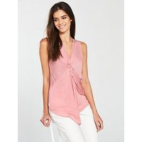 V by Very Sleeveless Twist Neck Top, Rose Pink, Size 16, Women