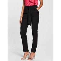 V by Very Tapered Leg Tencel Trouser - Black, Black, Size 10, Women