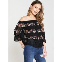 V by Very Floral Lace Bardot Top - Black, Black, Size 16, Women